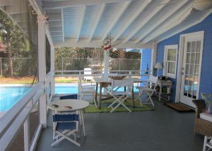 BeadCottScreened in porch by the pool at Bead.
